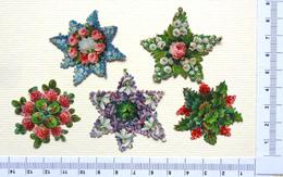 5 CHROMOS  DECOUPI  GAUFRES....... BOUQUETS EN FORME D'ÉTOILE.....FLEURS DIVERSES - Fleurs
