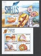 VV361 2015 SIERRA LEONE MARINE LIFE SEASHELLS SHELLS 1KB+1BL MNH - Coquillages