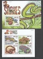 VV362 2015 SIERRA LEONE ANIMALS REPTILES SNAKES 1KB+1BL MNH - Serpents