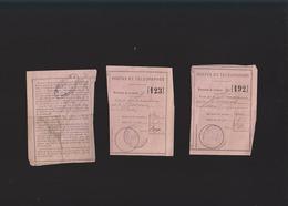 Postes Et Télégraphes - 3 Déclarations De Versement 1889 - Cachets Thoiry Et Neauphle - Old Paper