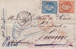 FRANCE : N° 22 ET N° 23  . DE BORDEAUX . POUR VIENNE . REEXPT A FRANCFORT . 1863 . - 1849-1876: Classic Period