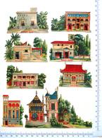 8 CHROMOS  DECOUPIS...EXPOSITION UNIVERSELLE DE 1889...CHOCOLAT LOMBARD...TYPES D'HABITATIONS - Découpis