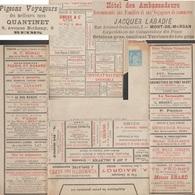 France 1887. Enveloppe-lettre Annonces. Pigeon Voyageur Ortolan Vélodrome, Vin, Photo 1/40 Seconde, Plante Médicinale - Palomas, Tórtolas