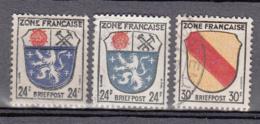 Allemagne Occupation Française  9 (2x Variété De Couleur) + 10 Obl. - Zone Française