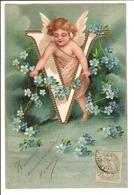 Alphabet ANGELOT - Lettre V - Gaufrée - Fancy Cards