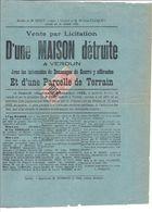 AFFICHE ENTIERE DE VENTE DE MAISON DETRUITE ET TERRAIN A VERDUN MEUSE - Fiscaux