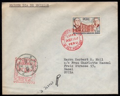 PEROU - PERU - LIMA / 1957 FDC - LETTRE RECOMMANDEE POUR LA SUISSE (ref LE3165) - Pérou