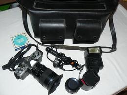 Minolta XG9, Zoom 28X85, Focus MC4 2X MX, Flash National PE3056, Sacoche Cuir, - Cameras
