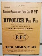 CATALOGUE De VENTE  De  * RIVOLIER Pére & Fils * St Etienne 1923 -  ARMES  FUSILS - LES PIECES - LES ACCESSOIRES Etc.... - Publicité