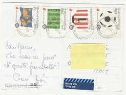 Singapore Yvert 1242/45 Su Cartolina Viaggiata ( Souvenir Stamps ) - Singapore (1959-...)