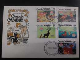 W) 1980 GRENADA, CIRCULAR SEAL, BAMBI, 5 STAMPILLAS BAMBI GRENADA GRENADINES - MNH. - Stamps