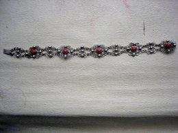 Ancien Bracelet EN ARGENT MASSIF 900 AVEC PIERRES ROUGES - Pulseras