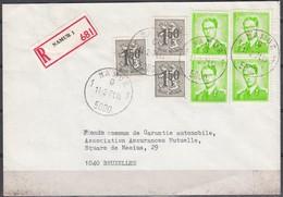 1068 (4) Met Stempel Namur 1 Op Aangetekende Brief - 1953-1972 Lunettes
