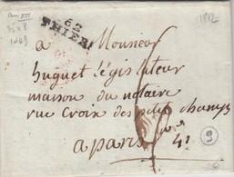 LETTRE PUY-DE-DOME. 1812.  62/THIERS POUR PARIS. TAXE PLUME 6 - Marcophilie (Lettres)