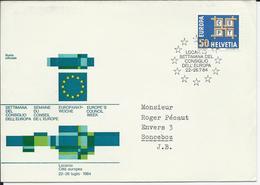 401, EUROPA, Emblème CEPT, Env. Semaine Conseil Europe, Obl. Locarno 22-26.7.64 - Suisse