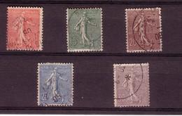Type Semeuse Lignée De Roty - 1903 - 10c Rose - YT N° 129 à 133 (5 Valeurs) Oblitérés - Gebraucht
