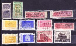 ECUADOR 1924-1958 TRAIN RAILROAD 12 DIFFERENT STAMPS CANCELLED SC# 295-296 RA32 RA44-RA45 620-628 642 644 - Ecuador