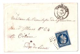 NAPOLEON N° 14 OBLITÉRÉ GROS CHIFFRES GC 1716 + CAD De GRENOBLE Sur LETTRE 1863 Pour ORLEANS - Postmark Collection (Covers)