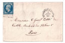 1862 - OBLITÉRATION AMBULANT ML 2° Sur NAPOLÉON N° 14 + CAD MARSEILLE À LYON Sur LETTRE Pour PARIS - Marcophilie (Lettres)