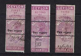 CEYLON...early Queen Victoria REVENUES...1893 Overprints...3-part - Ceylan (...-1947)