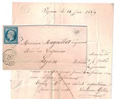 1859 - CACHET OR ORIGINE LOCALE De IZEAUX + CAD RIVES-SUR-FURE (ISERE) Sur LETTRE LAC Pour LYON OBLITERATION PC 2687 - 1849-1876: Période Classique