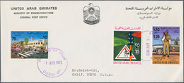 Vereinigte Arabische Emirate: 1973/2002, Covers (17), FDC (2, Traffic Week And Youth Festival), Fran - Ver. Arab. Emirate