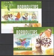 AA646 2015 S. TOME E PRINCIPE FAUNA BUTTERFLIES BORBOLETAS KB+BL MNH - Papillons