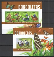 AA647 2015 S. TOME E PRINCIPE FAUNA INSECT  BUTTERFLIES BORBOLETAS KB+BL MNH - Papillons