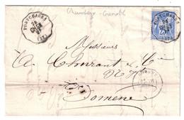 1877 - OBLITERATION CONVOYEUR STATION De PONTCHARRA LIGNE CHAMBERY À GRENOBLE 2° LETTRE LAC SAGE 25c DOMENE ISERE - Marcophilie (Lettres)
