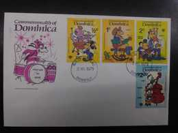 W) 1979 DOMINICA, DISNEY GOOFY BATTERY, MUSIC INSTRUMENTS, 4 STAMPS OF DIFFERENT TYPES OF INSTRUMENTS, 2 OF YELLOW COLOR - Dominica (1978-...)