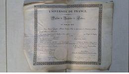Diplôme De Bachelier ès Lettres Université De France Au Nom Du Roi De 1833 - Diplômes & Bulletins Scolaires