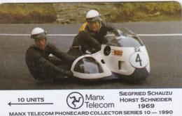Isle Of Man, MAN 032, TT Racers 1990, Schauzu/Schneider, 2 Scans - Isla De Man