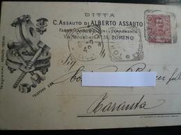 Torino Bulloneria   Testatina Pubblicitaria  Usata 1901 - Italia