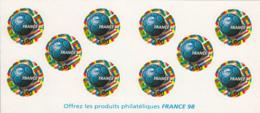 France 1998 MNH Sc #2629a Booklet 10 3fr World Cup Soccer Championships - Carnets