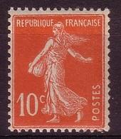 Type Semeuse Sans Sol 10 C Rouge YT N°138 NEUF** - France