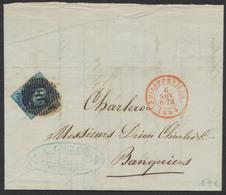 Médaillon - N°7 Sur LAC Obl P96 çàd Philippeville 6/11/55 Vers Charleroi - 1851-1857 Médaillons (6/8)