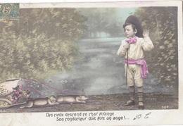 """CARTE FANTAISIE. CPA. SERIE DE 4 CARTES. """" LE CHAR ÉTRANGE """"  ANNEE 1907 - Enfants"""