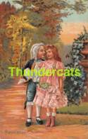 CPA EN RELIEF GAUFREE COUPLE  FILLE GARCON EMBOSSED CARD GIRL BOY - Couples