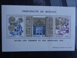 MONACO 1996 BLOC Y&T N° 73 **  - MUSEE DES TIMBRES ET DES MONNAIES - Neufs