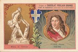 Chromo  CHOCOLAT POULAIN  /  Les  Sculpteurs  Célèbres /  PUGET  Pierre  /  Statue De Milon De Crotone - Poulain
