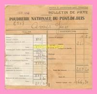 Bulletin De Paye Des  POUDRERIE NATIONALE DU PONT DE BUIS (29) Juin 1940 - France