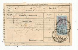 Timbre Fiscal, Quittances 100 Frs Et Au Dessous, 25c,  Reçus D'objets Sur Reçu, Oblitération :BERTHEGON, Vienne ,1926 - Fiscaux