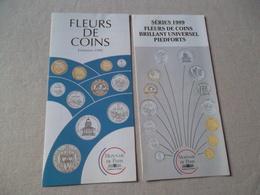 LOT DE 2 DEPLIANTS MONNAIE DE PARIS FLEURS DE COINS 1990 ET 1989 - Francés