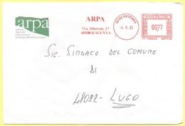 ITALIA - ITALY - ITALIE - 2002 - 00,77 EMA, Red Cancel - ARPA - Viaggiata Da Ravenna Per Lugo - Affrancature Meccaniche Rosse (EMA)