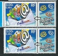 [28] Variété : N° 3365 3e Millénaire Enveloppe Violette Au Lieu De Rose + Normal ** - Variétés Et Curiosités