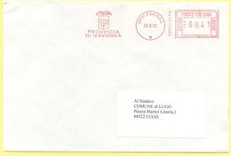 ITALIA - ITALY - ITALIE - 2002 - 00,41 EMA, Red Cancel - Provincia Di Ravenna - Viaggiata Da Ravenna Per Lugo - Affrancature Meccaniche Rosse (EMA)