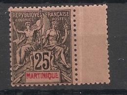 Martinique - 1892 - N°Yv. 38 - Groupe 25c Noir Sur Rose - Bord De Feuille - Neuf Luxe ** / MNH / Postfrisch - Martinique (1886-1947)