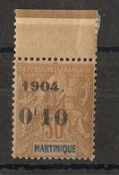 Martinique - 1904 - N°Yv. 54 - 0f10 Sur 30c Brun - Type I - Bord De Feuille - Neuf ** Luxe / MNH / Postfrisch - Ungebraucht