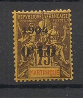 Martinique - 1904 - N°Yv. 57 - 0f10 Sur 75c - Type I - Neuf ** Luxe / MNH / Postfrisch - Martinique (1886-1947)