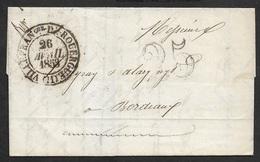 1853 - LAC - VILLEFRANCHE DE ROUERGUE 26 AVRIL 1853 A BORDEAUX - BELLE FRAPPE - 1801-1848: Précurseurs XIX